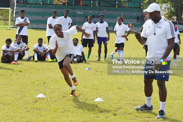 Image: National Under-20 female footballer Sasha Prospere during one of the training sessions.
