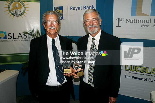 Image: Tony and Dunstan Duboulay of Duboulay's Bottling Company Limited were honoured with Lifetime Achievement awards for their nearly 50 years in business.