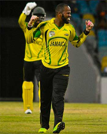 Image: Campbell celebrates one of his four wickets.