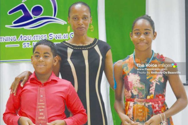 Image: Lightning Aquatic top Swimmers of the Year Ethan Hazell & Naima Hazell (PHOTO: Anthony De Beauville)