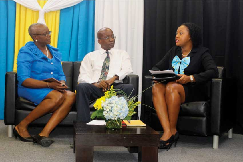 Image: (from left to right), Minister Fortuna Belrose, Permanent Secretary Donavan Williams and Press Secretary to the Prime Minister, Nicole Mc Donald during last Monday's press launch of Independence activities. [PHOTO: Stan Bishop]