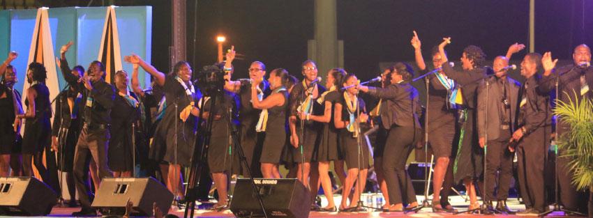 Image: Gospel singers at the Daren Sammy Ground.
