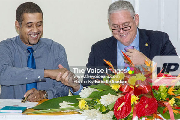 Image: Prime Minister Chastanet and WLBL's Thomas Leonce at the Launching. (PHOTO: Isabelle Sankar)