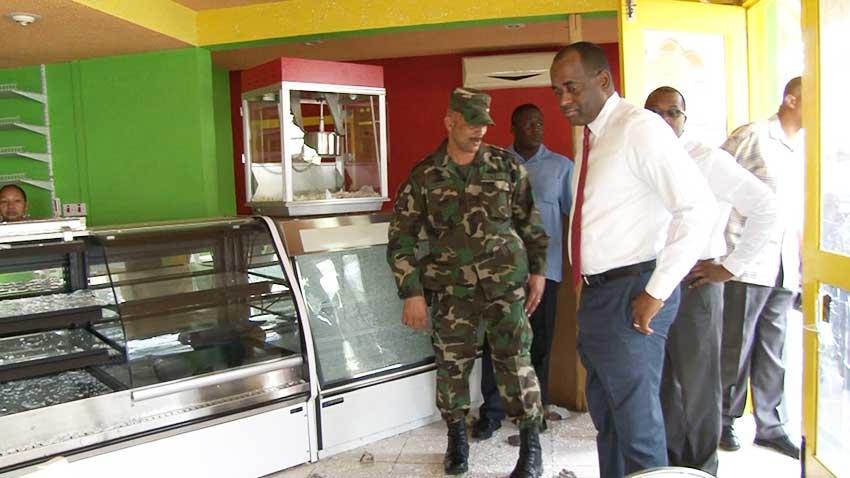 Image: Prime Minister Rooservelt Skerrit gets a first-hand look at the destruction.