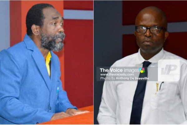 Image: (l-r) SLOC General Secretary Alfred Emmanuel and KFSL President Oliver Lawrence (Photo: Anthony De Beauville)