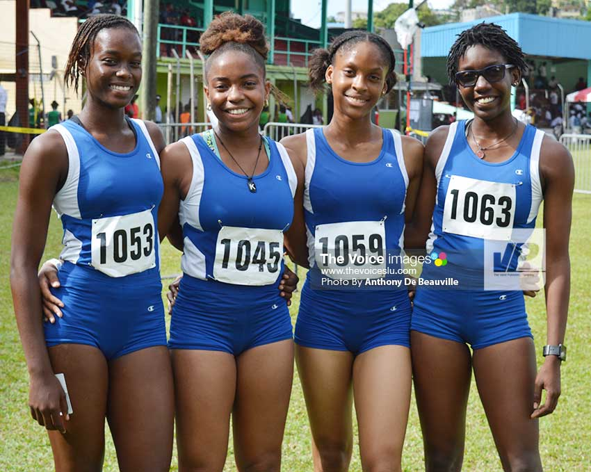 Image: SJC Under-18 winning team in the 4 x100 metres relay finals on Tuesday (Photo: Anthony De Beauville)