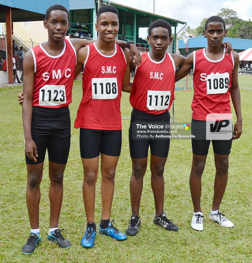 Image: SMC Under-16 winning team in the 4 x100 metres relay finals on Tuesday (Photo: Anthony De Beauville)