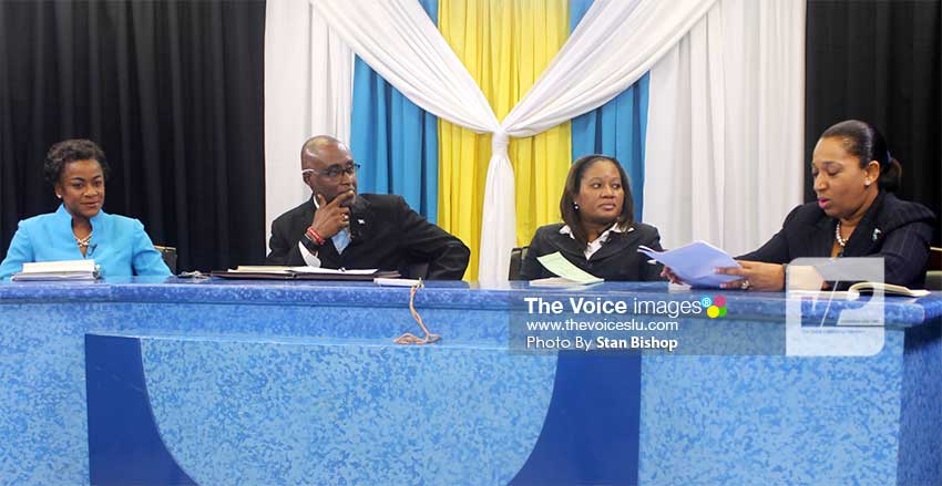 Image: (From left to right) House Speaker Leonne Theodore-John, Claudius Francis, Director of Legislative Drafting, Gillian Vidal-Jules and Kim St. Rose. [PHOTO: Stan Bishop]