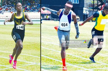 Image: (L-R) Kimani Alphonse wins the Girls 200 metres; Close finish in the Boys Under-18 between Tyrese Paul and Jeanmeachel Etienne. (PHOTO: Anthony De Beauville)