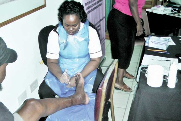 Image: Limb care specialist Claudin Mathurine.