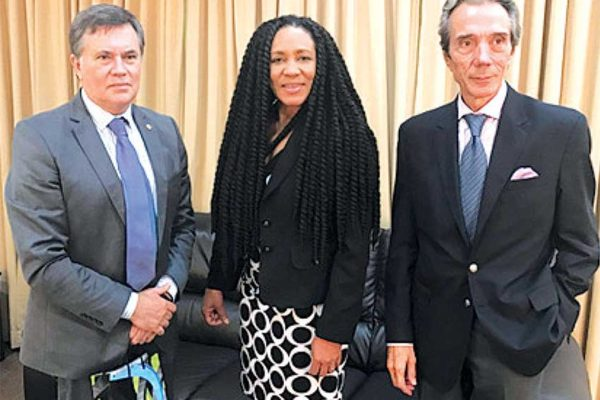 Image: (LEFT TO RIGHT) MSc Manuel Otero – Candidate for Director General of IICA, Dr. Rufina Frederick – Permanent Secretary in the Department of External Affairs, H.E. Luis BeltránMartínez Thomas – Ambassador of the Argentine Republic in Saint Lucia.