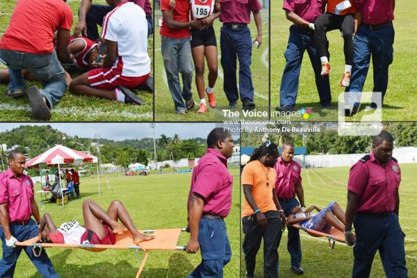 Image: Medical personnel attending to and carrying out some of the students during the meet at the Mindoo Phillip Park. (PHOTO: Anthony De Beauville)