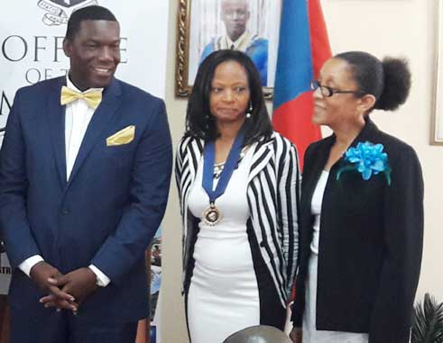 Image: New deputy Mayor Genevieve St. Croix (Centre) with new Councillor Felix Deterville and CEO Anselma Calderon.