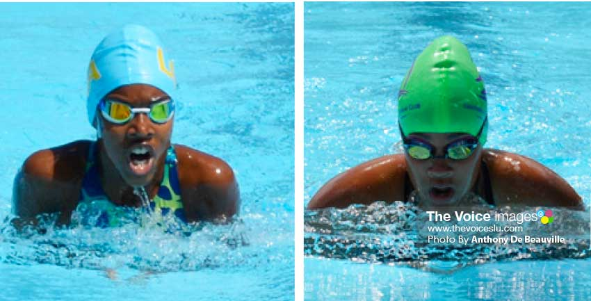 Image: (l-r) Niama Hazell in the 100-metres breaststroke and Angelique Gaillard in the 200-metres freestyle relay.  (Photo: Anthony De Beauville)