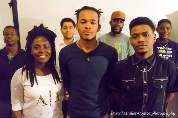 Image: Participants in the open Poetry Slam.
