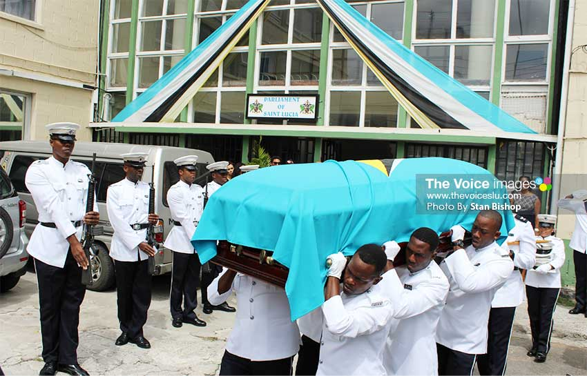 Image: Police officers carrying Sir Derek's casket from Parliament [PHOTO: Stan Bishop]