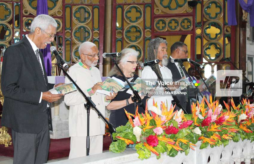 Image: Saint Lucia poets read Sir Derek's 'The Season of Phantasmal Peace' at Minor Basilica [PHOTO: Stan Bishop]