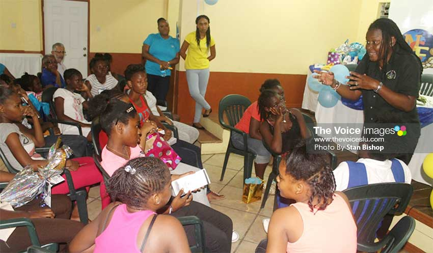 Image: Social Planning Officer, Tara Emmanuel, teaching the girls ways to develop and maintain high self-esteem. [PHOTO: Stan Bishop]