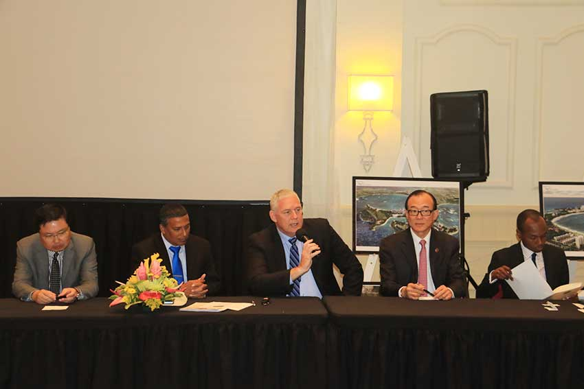 Image: The head table at the brief with Prime Minister Chastanet and DSH Chairman Teo Ah Khing