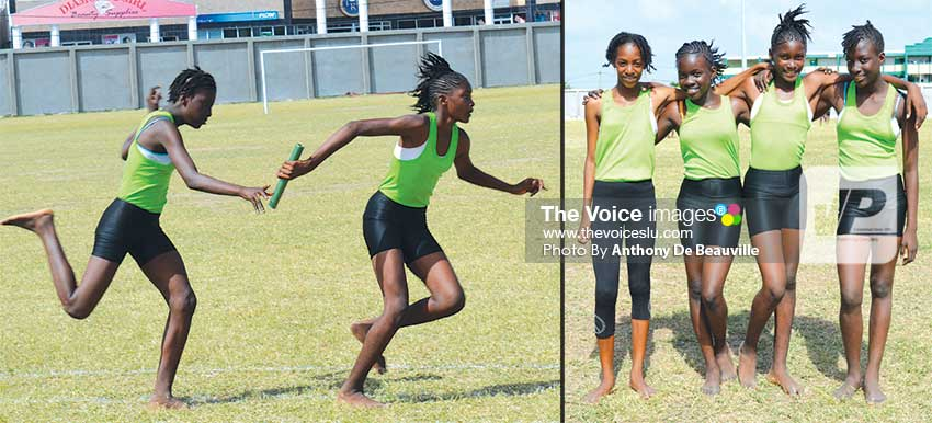 Image: TiRocher Combined are the Under-13 Girls 4x100 metres relay champions.  (PHOTO: Anthony De Beauville)