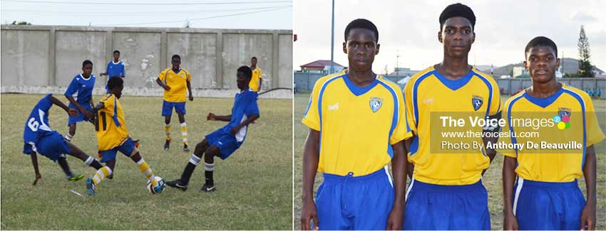 Image: (l-r) Some of the football action between Canaries and Micoud; Canaries goal scorers Vaughn Longville, Rio Longville and Steven Octave.  (Photo: Anthony De Beauville)
