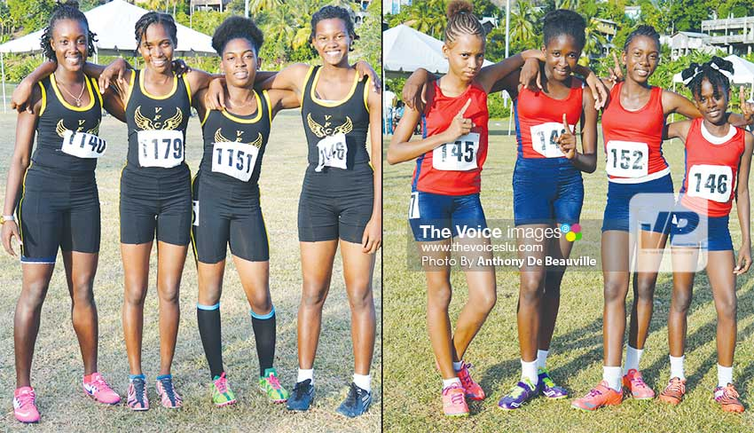 Image: (L-R) Vieux Fort Comprehensive 4x100 metres under 18 girls and Beanfield Secondary 4x100 metres under 14 girls winning team (Photo: Anthony De Beauville).  (PHOTO: Anthony De Beauville)