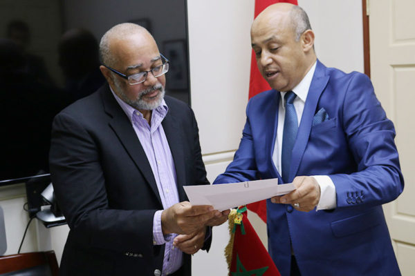 Image: Ambassador of the Kingdom of Morocco, AbderrahimKadmiri, (right) presents credentials to OECS Director General, Dr.Didacus Jules.