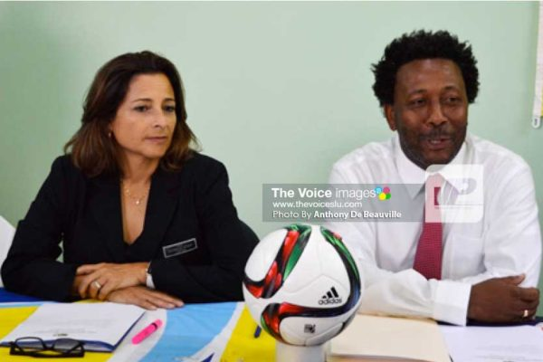 Image: (l-r) FIFA Instructor/Consultant Andrea Rodebaugh and SLFA President Lyndon Cooper speaking at the opening ceremony. (Photo: Anthony De Beauville)
