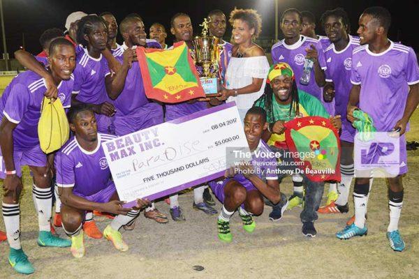 Image: Grenada Paradise FC team celebrates on Saturday evening. (Photo: Anthony De Beauville)