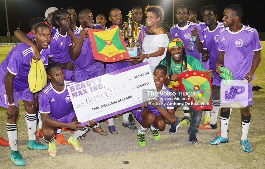 Image: Grenada Paradise FC team celebrates on Saturday evening. (Photo: Anthony De Beauville)