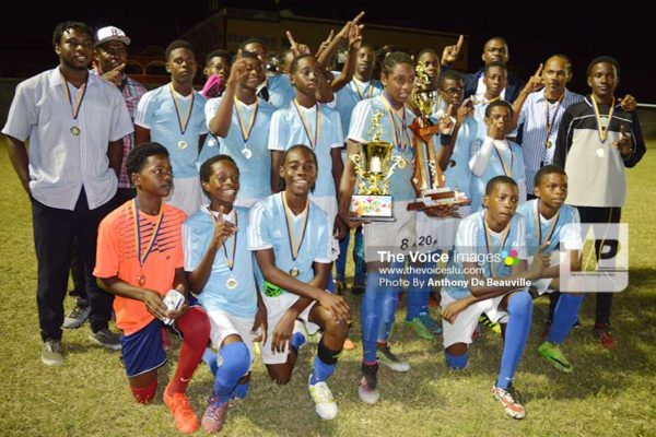 Image: Gros Islet Under -15s celebrate. (Photo: Anthony De Beauville)