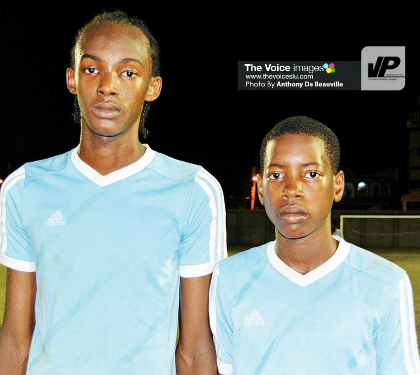 Image: Gros Islet goal scorers Simeon Francis and Jahlil Evans. (Photo: Anthony De Beauville)