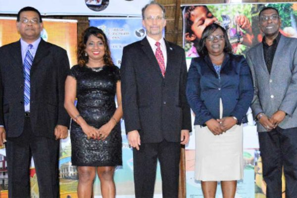 Image: Left to right: Indranauth Haralsingh, Director Guyana Tourism Authority; Dr. Lisa Indar, Head CARPHA Regional Tourism and Health Programme; Dr. C. JamesHospedales, Executive Director CARPHA; Dr. Karen Cummings, Minister within the Ministry of Public Health; and Dr.ShamdeoPersad. Chief Medical Officer Ministry of Public Health.