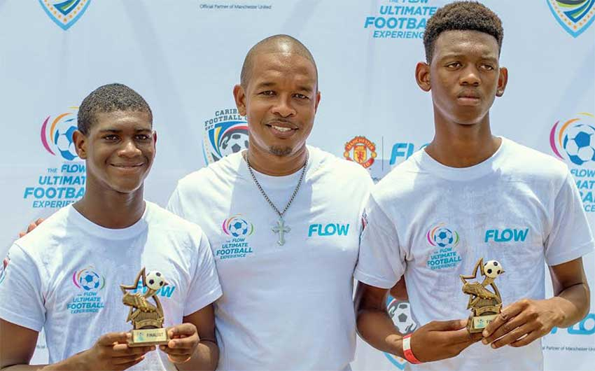 Image: (l-r) Flow ultimate football experience winners  Jeremiah Justin, (FLOW representative Terry Finistere) and Djal Augustin  (Photo: Anthony De Beauville)
