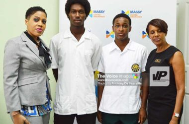 Image: (l-r) Marketing Manager at United Insurance, Josette Edgar, Dane Edward (captain, Sir Arthur Lewis Community College) Brandt Jean (Captain, Leon Hess Comprehensive) and Manager, Massy United Insurance, Faye Miller. (Photo: Anthony De Beauville)