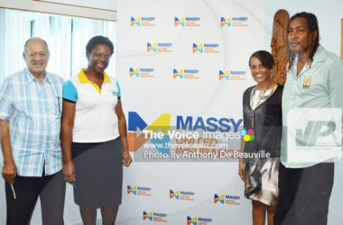 IMG: (l-r) present at Thursday Press Conference J E Bergasse Director Hollis Bristol, School Sports Coordinator Isabel Marquis, Massy Insurance General Manager Faye Miller and Ryan O' Brian, Information Assistant, Department of Youth Development and Sports. (Photo: Anthony De Beauville)