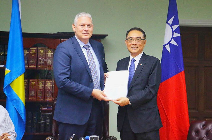 Image: Prime Minister Chastanet and Taiwanese Ambassador Shen during the presentation yesterday.