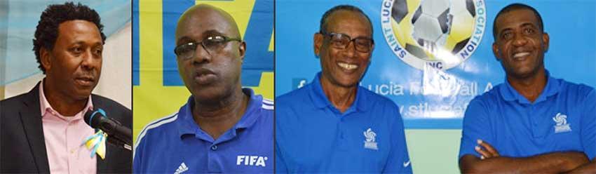 Image: (L-R) SLFA President Lyndon Cooper, SLFA General Secretary Victor Reid; FIFA Instructors Vinmore Blane and Leonard Lake. (PHOTO: Anthony De Beauville)