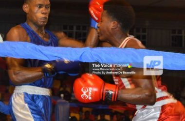 Image: Saint Lucia's Marvin Anthony (in blue) and Barbados' Ision Fraser battle it out. (Photo: Anthony De Beauville)