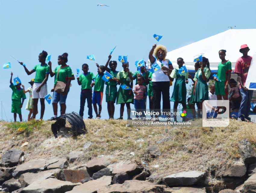 Image: Students of the Gros Islet Primary School welcome World ARC to St. Lucia.   (PHOTO: Anthony De Beauville)
