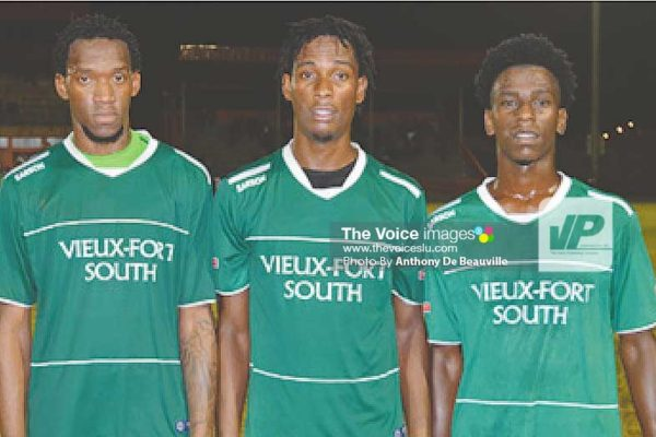 Image: VFS goal scorers against Anse la Raye Gregson President, Antonio Joseph and Ricardo Miller. (Photo: Anthony De Beauville)
