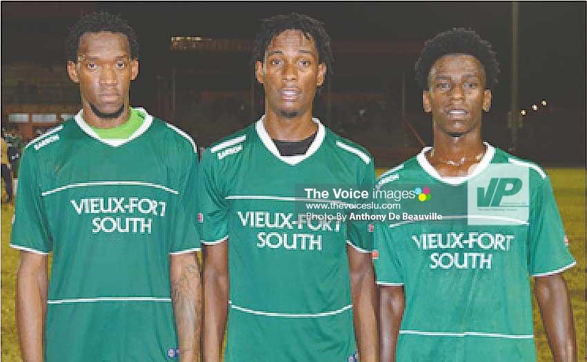 Image: VFS goal scorers against Anse la Raye Gregson President, Antonio Joseph and Ricardo Miller. (Photo: Anthony De Beauville)