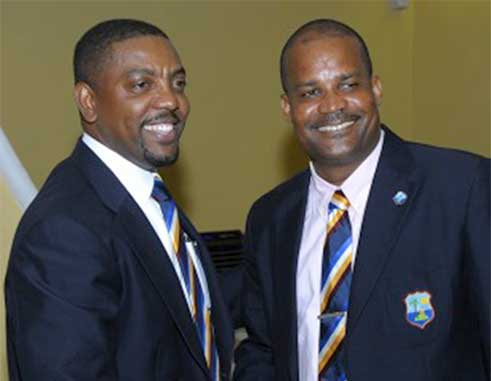 Image: (l-r) WICB President and Vice President Whycliffe 'Dave' Cameron and Emmanuel Nanthan. (Photo: WICB Media Photo/Randy Brooks)