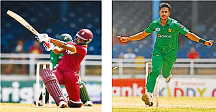 Image: (l-r) West Indies Ervin Lewis and Pakistan Hasan Ali. (Photo: AFP)