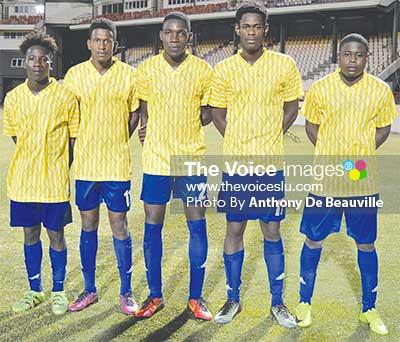 Image: (L-R) National Under-21 team goal scorers in the tournament to date are Cassius Joseph, Erickson Reid Magloire, Arron Richards, Nangee Philip and Delon Neptune.  (PHOTO: Anthony De Beauville)