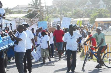 Image: Protesters at Sunday's march in Vieux Fort.