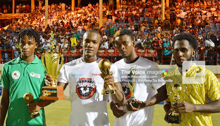 Image: (l-r) Top awardees - Best Attacker, Antonio Joseph - Vieux Fort South;  Best Defender and Most Valuable Player,  Bradley Tisson – Canaries;  Best Goalkeeper, Quami Jones – Canaries; and Best Midfielder,  Zacherius Simon -- National Youth Team. (Photo: Anthony De Beauville)