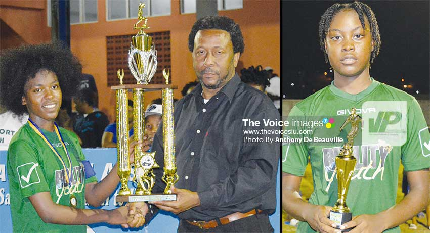 Image: (L-R) VFS captain ShekeraClasse receiving the championship trophy from SLFA President Lyndon Cooper; MVP of the Final Ilana Lashley. (PHOTO: Anthony De Beauville)