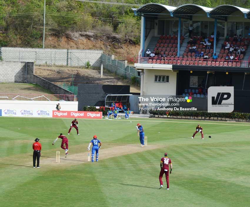 Image: Action on the pitch Alzarri Joseph bowling to GulbadinNabi. (Photo: Anthony De Beauville)