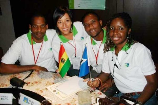Image: Elsa Mathurin (right) with other students in Taiwan.